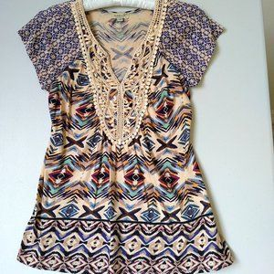 One World Boho Blue and Tan Top